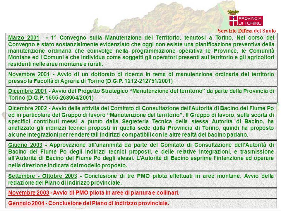 PMO pilota promossi dalla Provincia di Torino conclusi o di prossima conclusione PMO pilota promossi dalla Provincia di Torino in previsione Altri PMO redatti sulla base degli indirizzi tecnici Piani di Manutenzione Ordinaria in Provincia di Torino Servizio Difesa del Suolo