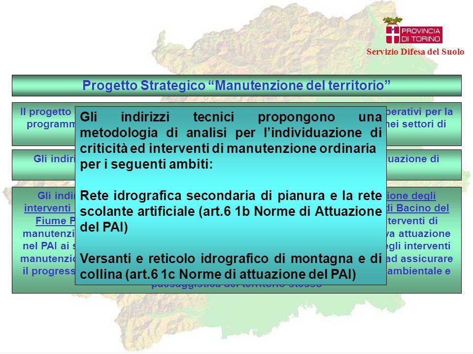 """Progetto Strategico """"Manutenzione del territorio"""" Il progetto è finalizzato ad individuare indirizzi tecnici e modelli di piani operativi per la progr"""