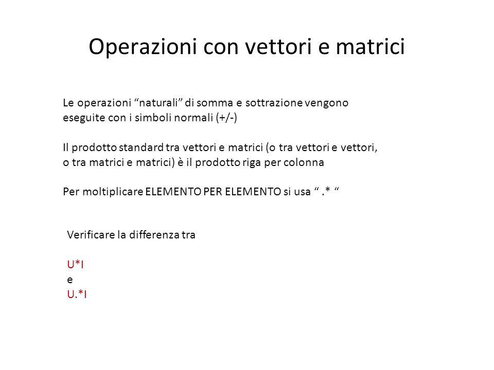 """Operazioni con vettori e matrici Le operazioni """"naturali"""" di somma e sottrazione vengono eseguite con i simboli normali (+/-) Il prodotto standard tra"""