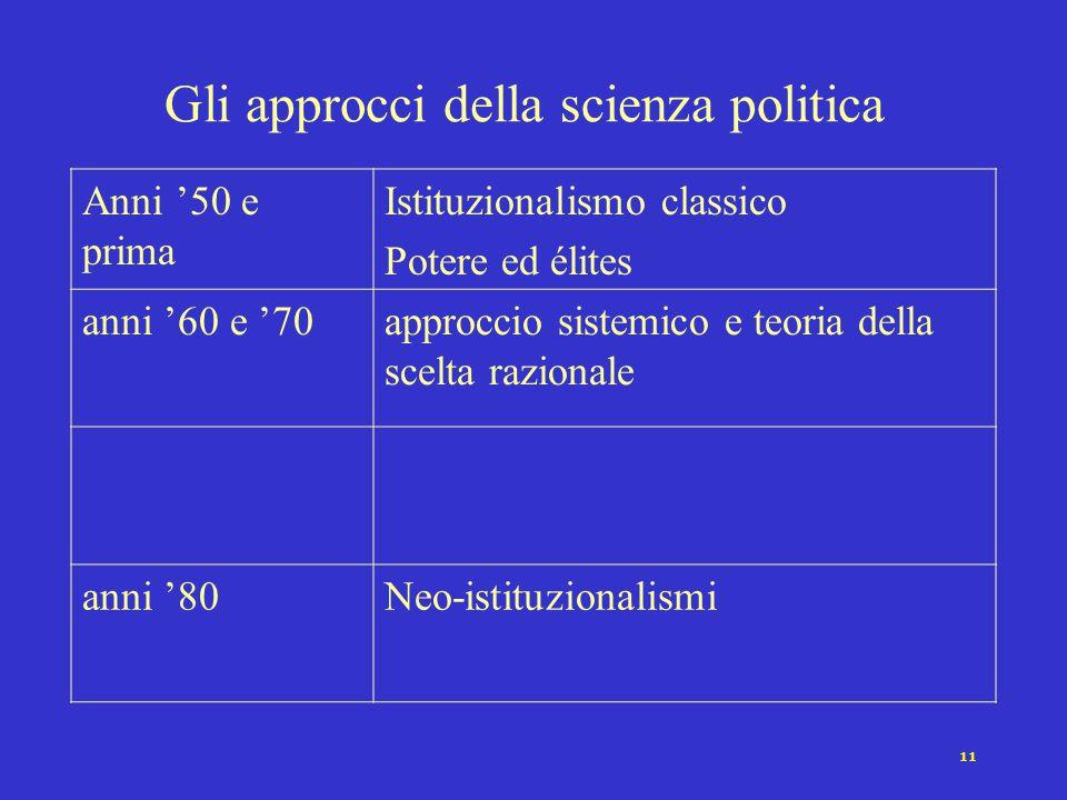 10 Filosofia politica e scienza politica Le componenti della tradizione filosofica (Bobbio 1971) Ricerca della migliore forma di governo Ricerca del f