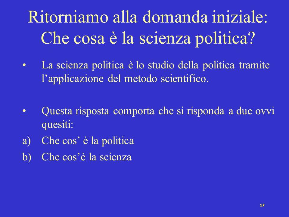 16 Politica Comparata (all'interno di paesi) Politica Internazionale (tra paesi) Economia Politica Rivoluzione Politica Ambientale Elites Conflitto Po