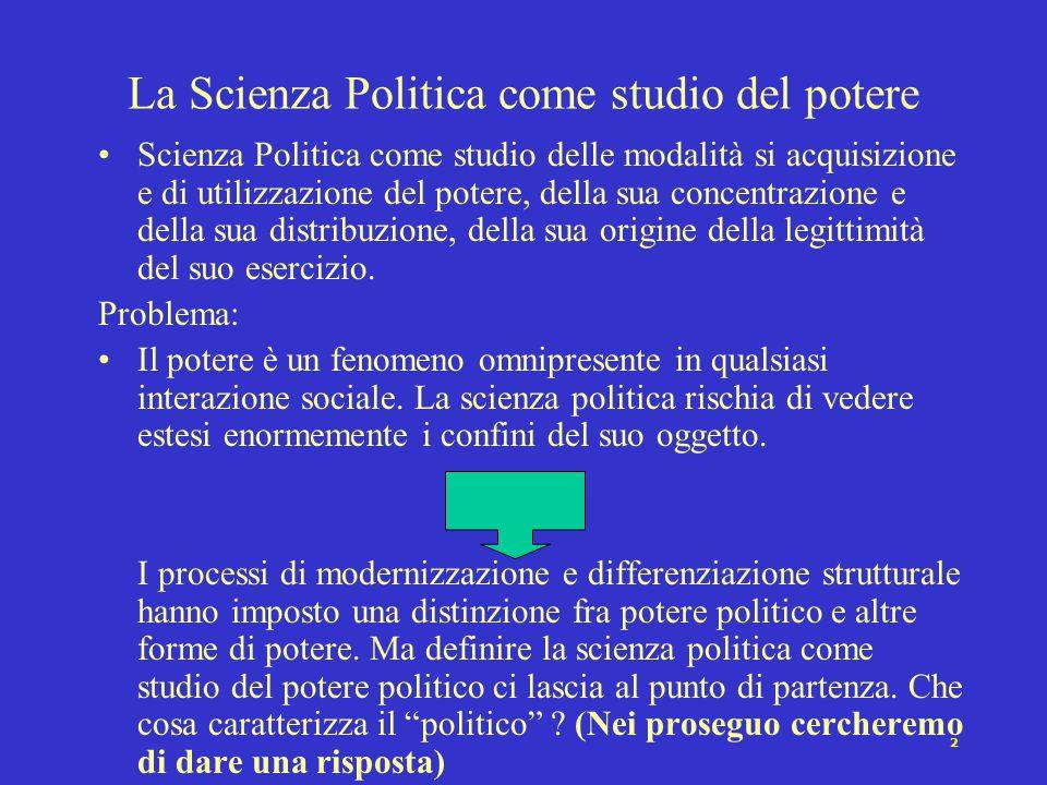 1 Che cos'è la Scienza Politica Oggetti mutevoli (Potere, Stato, Elites, Sistema politico..e altro) Easton e il comportamentismo politico Distinzioni