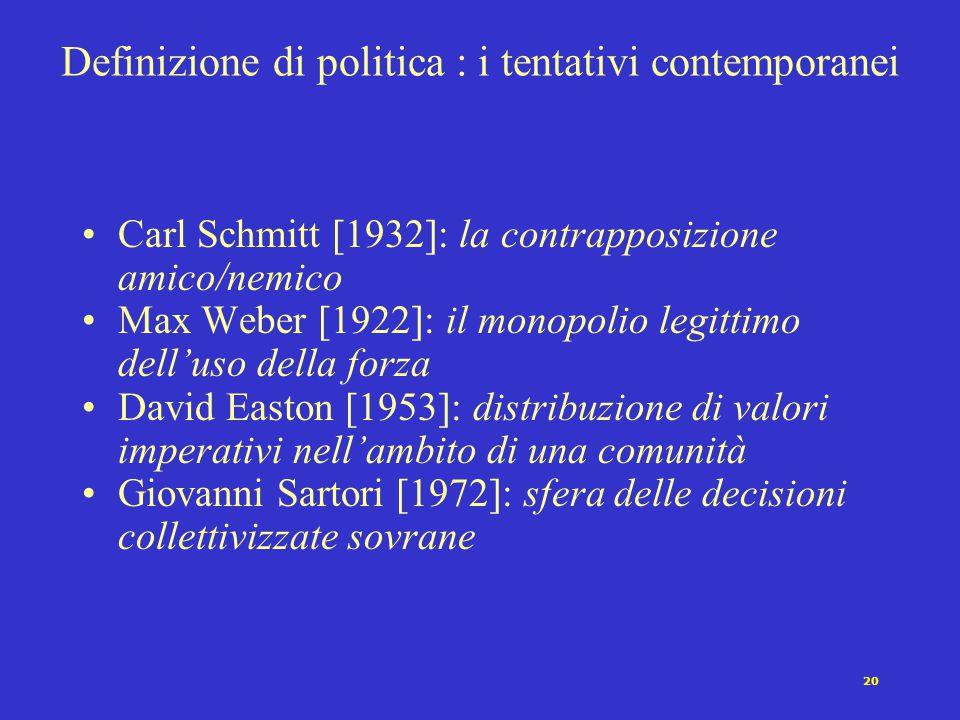 19 Definizione di politica: un problema antico Aristotele [IV secolo a.C.] Cicerone [I secolo a.C.] Tommaso d'Aquino [XIII secolo d.C.] Hobbes [1588-1