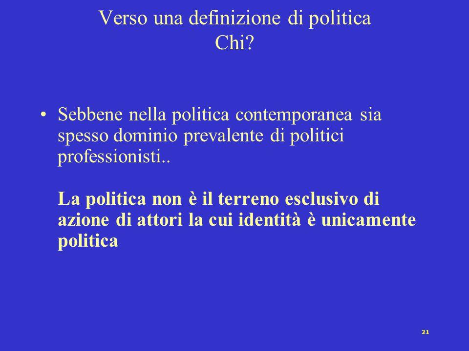 20 Definizione di politica : i tentativi contemporanei Carl Schmitt [1932]: la contrapposizione amico/nemico Max Weber [1922]: il monopolio legittimo