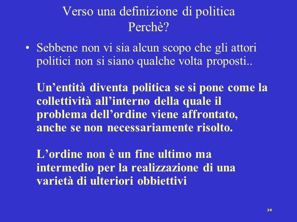 23 Verso una definizione di politica Dove? La politica è sempre legata ad una collettività definita.. ma questa può non essere uno stato o un sistema