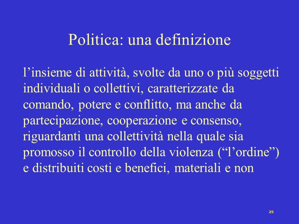 24 Verso una definizione di politica Perchè? Sebbene non vi sia alcun scopo che gli attori politici non si siano qualche volta proposti.. Un'entità di