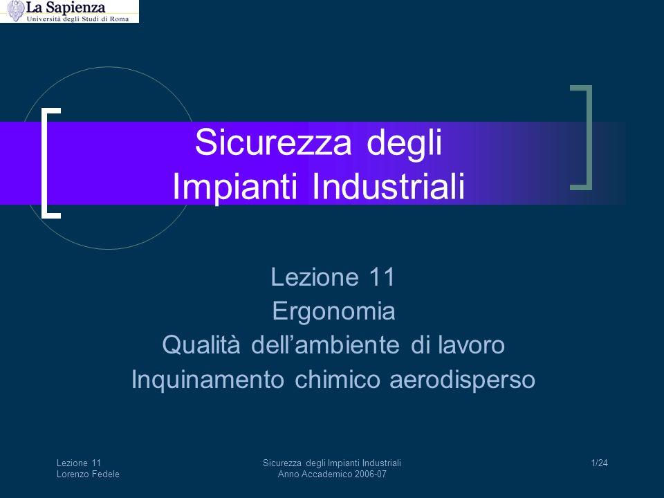 Lezione 11 Lorenzo Fedele Sicurezza degli Impianti Industriali Anno Accademico 2006-07 1/24 Sicurezza degli Impianti Industriali Lezione 11 Ergonomia