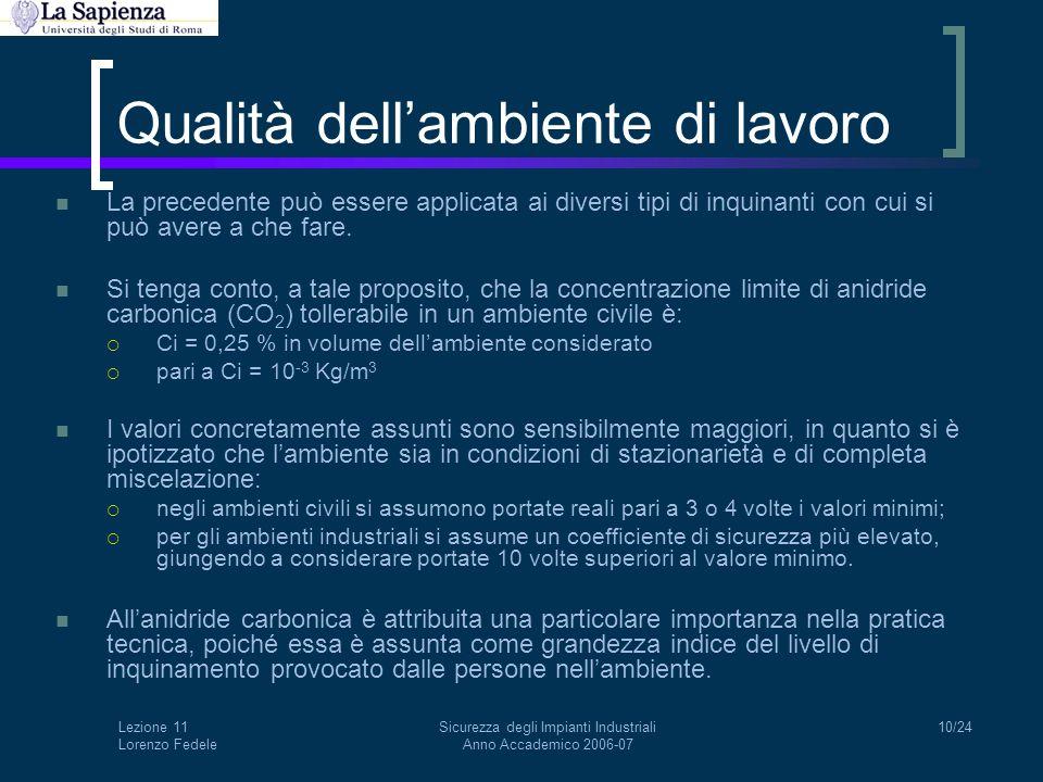 Lezione 11 Lorenzo Fedele Sicurezza degli Impianti Industriali Anno Accademico 2006-07 10/24 Qualità dell'ambiente di lavoro La precedente può essere