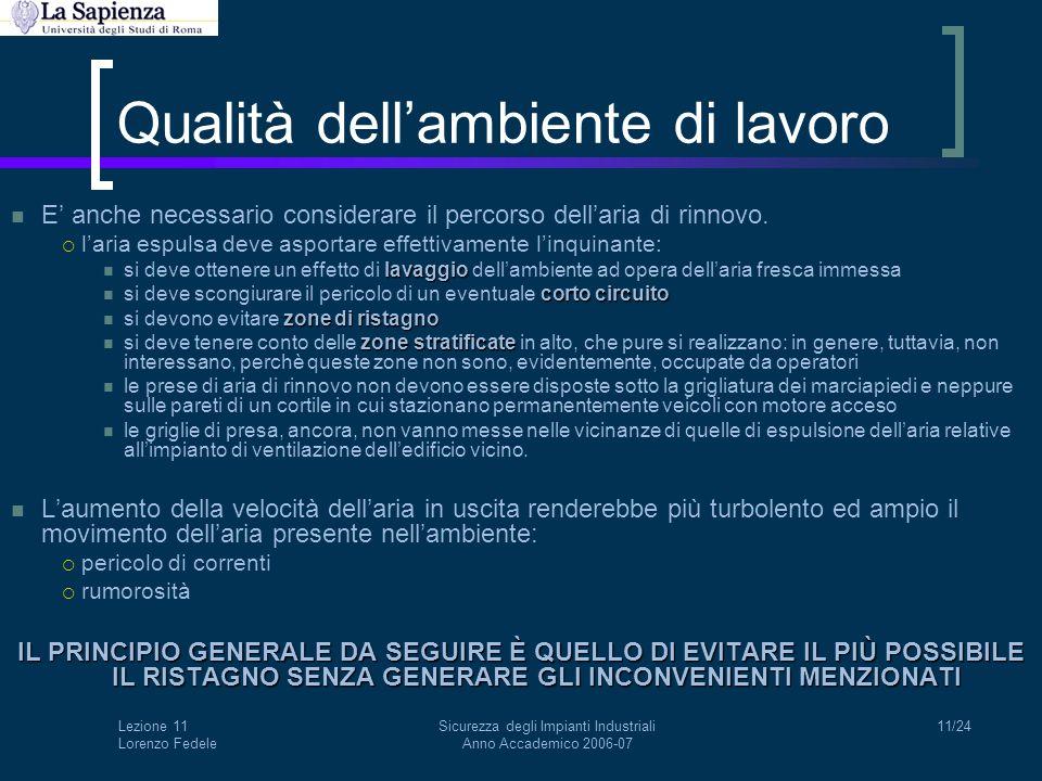 Lezione 11 Lorenzo Fedele Sicurezza degli Impianti Industriali Anno Accademico 2006-07 11/24 Qualità dell'ambiente di lavoro E' anche necessario consi