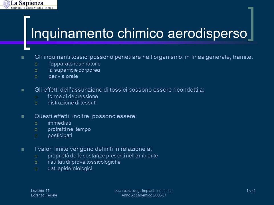 Lezione 11 Lorenzo Fedele Sicurezza degli Impianti Industriali Anno Accademico 2006-07 17/24 Inquinamento chimico aerodisperso Gli inquinanti tossici