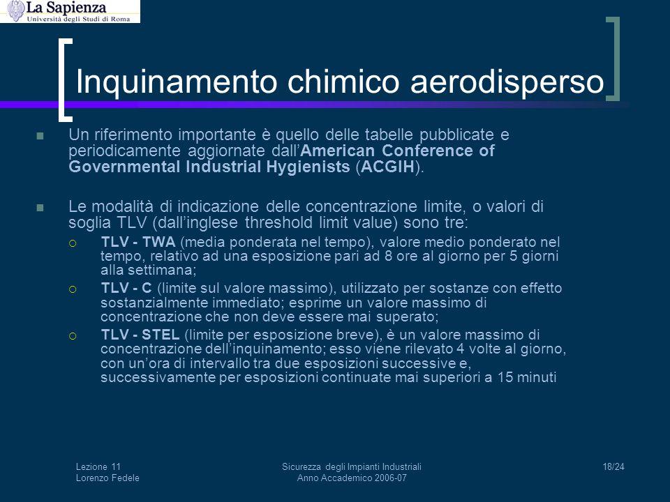 Lezione 11 Lorenzo Fedele Sicurezza degli Impianti Industriali Anno Accademico 2006-07 18/24 Inquinamento chimico aerodisperso Un riferimento importan