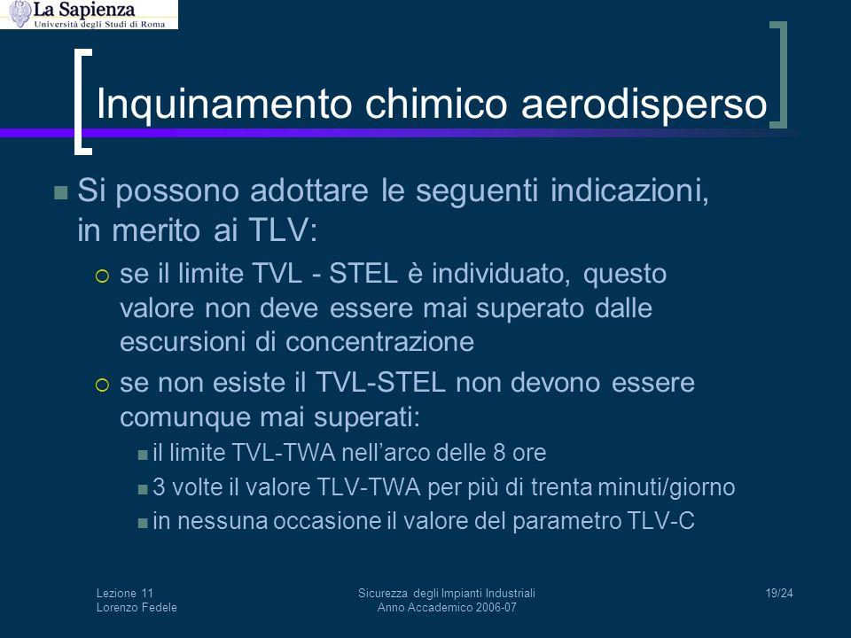 Lezione 11 Lorenzo Fedele Sicurezza degli Impianti Industriali Anno Accademico 2006-07 19/24 Inquinamento chimico aerodisperso Si possono adottare le