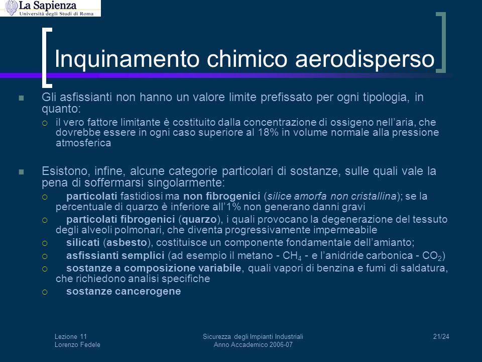 Lezione 11 Lorenzo Fedele Sicurezza degli Impianti Industriali Anno Accademico 2006-07 21/24 Inquinamento chimico aerodisperso Gli asfissianti non han