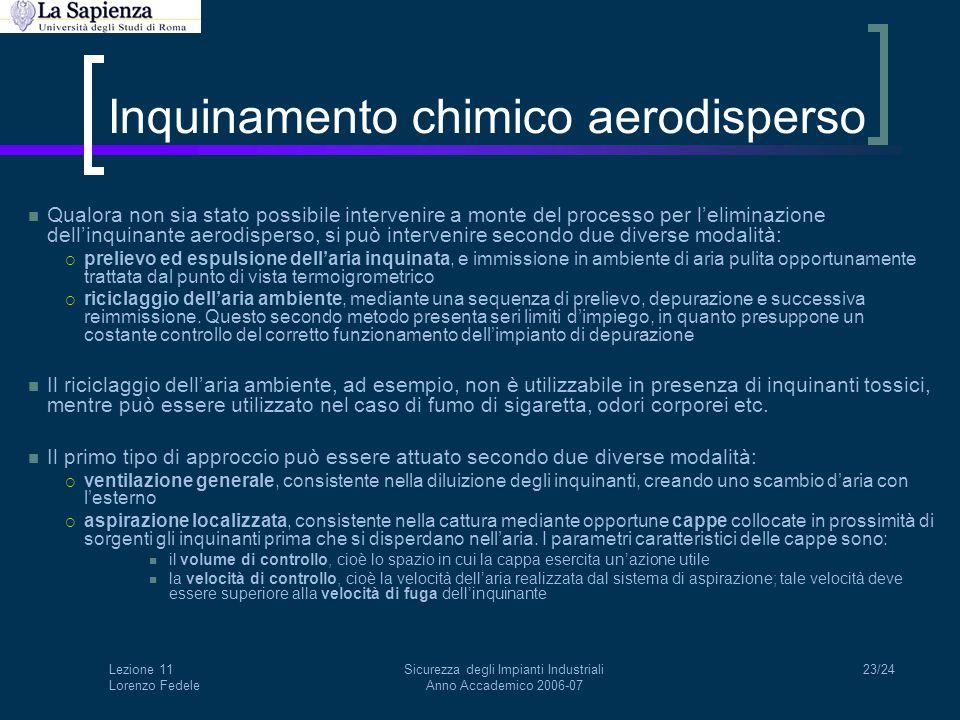 Lezione 11 Lorenzo Fedele Sicurezza degli Impianti Industriali Anno Accademico 2006-07 23/24 Inquinamento chimico aerodisperso Qualora non sia stato p