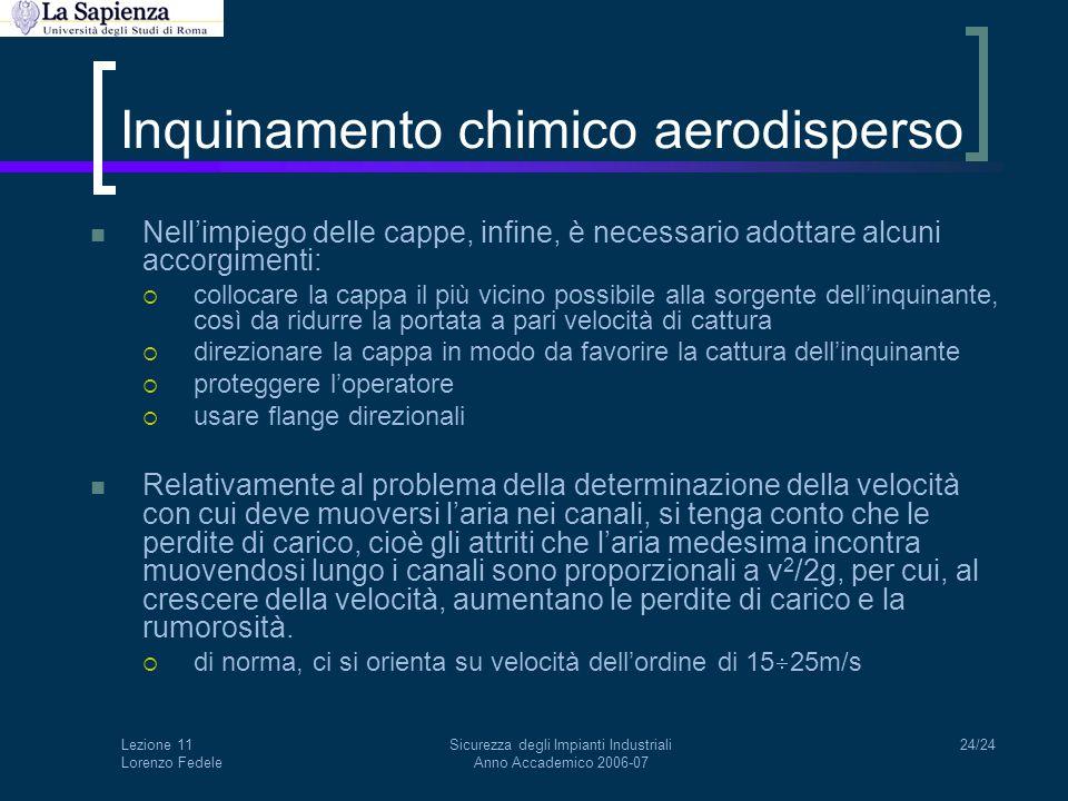 Lezione 11 Lorenzo Fedele Sicurezza degli Impianti Industriali Anno Accademico 2006-07 24/24 Inquinamento chimico aerodisperso Nell'impiego delle capp