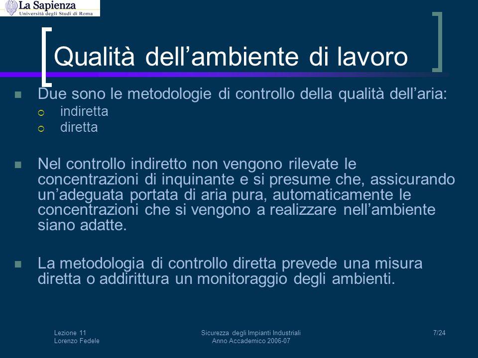 Lezione 11 Lorenzo Fedele Sicurezza degli Impianti Industriali Anno Accademico 2006-07 8/24 Qualità dell'ambiente di lavoro Per applicare il controllo indiretto, lo schema di riferimento è quello del bilancio di massa per un inquinante in un ambiente.