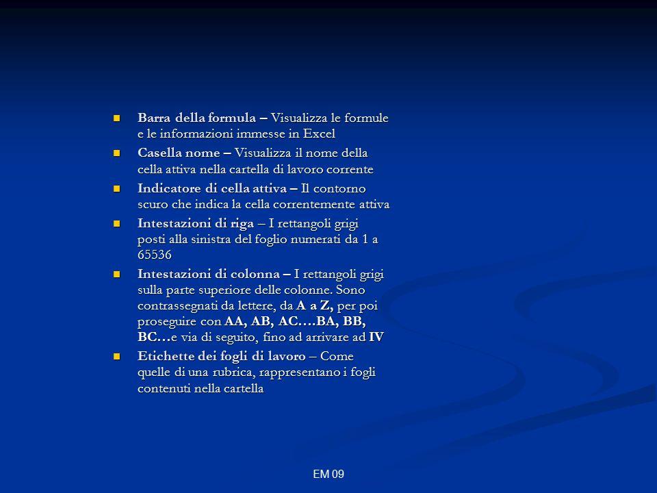EM 09 Barra degli strumenti standard Somma automatica Somma automatica Incolla funzione Incolla funzione Ordinamento crescente e decrescente Ordinamento crescente e decrescente Creazione guidata grafico Creazione guidata grafico