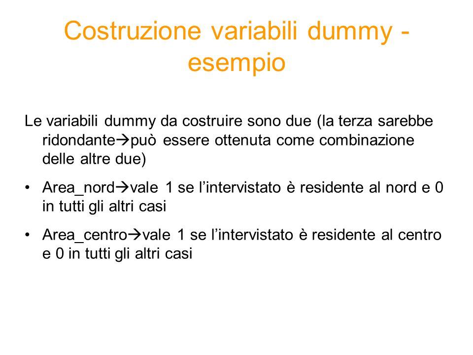 Costruzione variabili dummy - esempio Le variabili dummy da costruire sono due (la terza sarebbe ridondante  può essere ottenuta come combinazione de