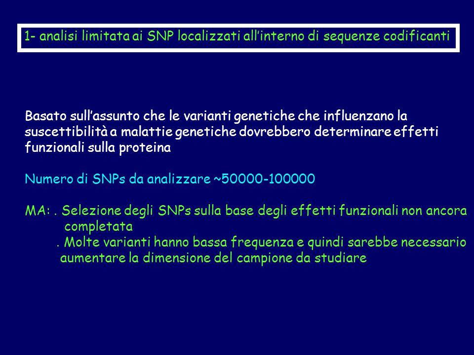 Basato sull'assunto che le varianti genetiche che influenzano la suscettibilità a malattie genetiche dovrebbero determinare effetti funzionali sulla proteina Numero di SNPs da analizzare ~50000-100000 MA:.