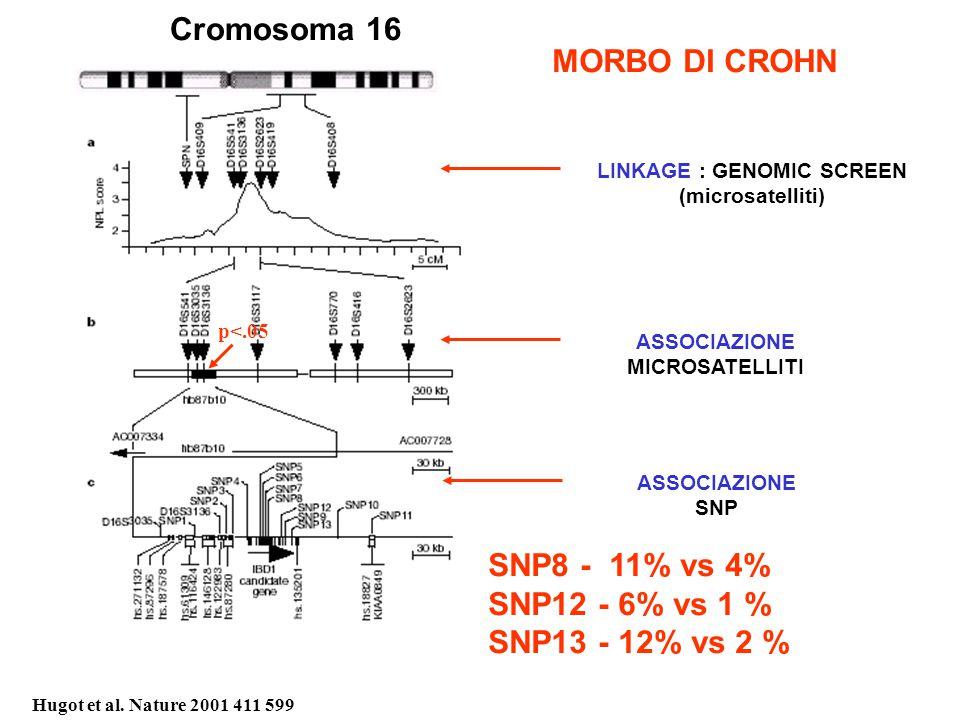 MORBO DI CROHN Cromosoma 16 ASSOCIAZIONE MICROSATELLITI ASSOCIAZIONE SNP p<.05 LINKAGE : GENOMIC SCREEN (microsatelliti) SNP8 - 11% vs 4% SNP12 - 6% vs 1 % SNP13 - 12% vs 2 % Hugot et al.