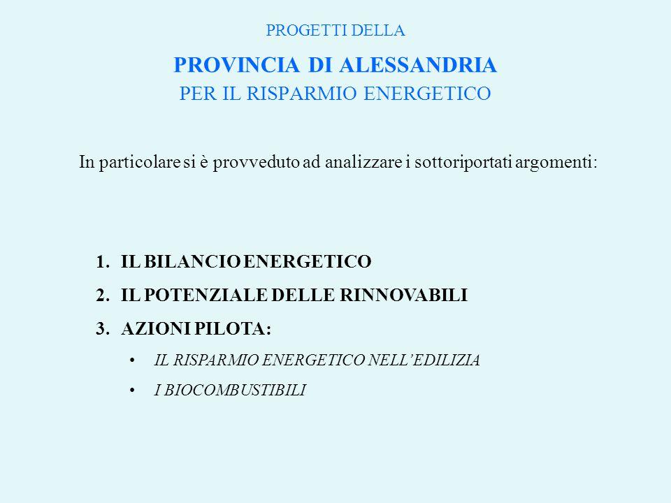In particolare si è provveduto ad analizzare i sottoriportati argomenti: 1.IL BILANCIO ENERGETICO 2.IL POTENZIALE DELLE RINNOVABILI 3.AZIONI PILOTA: IL RISPARMIO ENERGETICO NELL'EDILIZIA I BIOCOMBUSTIBILI