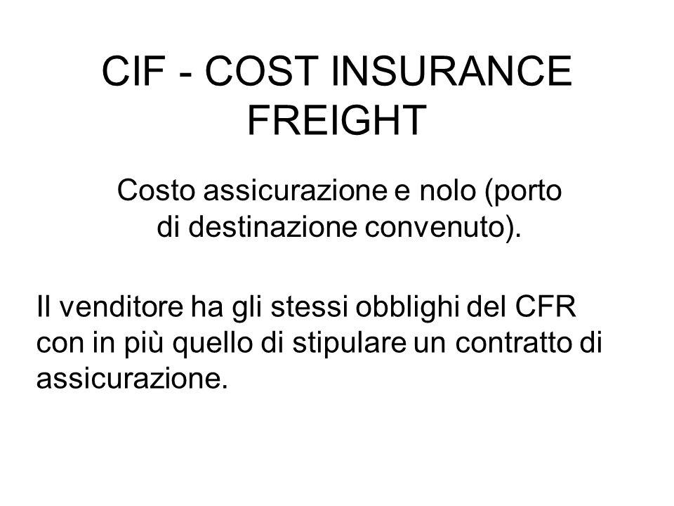CIF - COST INSURANCE FREIGHT Costo assicurazione e nolo (porto di destinazione convenuto).