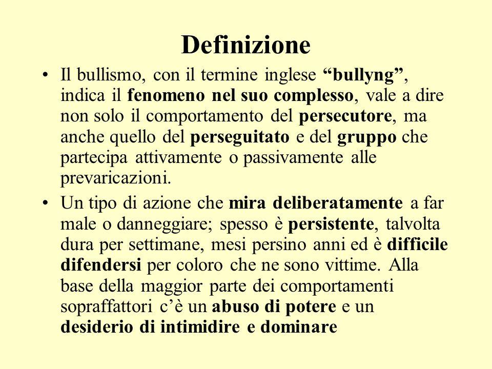 """Definizione Il bullismo, con il termine inglese """"bullyng"""", indica il fenomeno nel suo complesso, vale a dire non solo il comportamento del persecutore"""