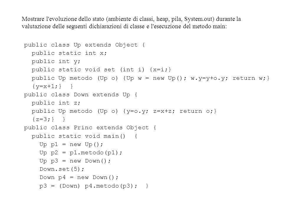 Mostrare l evoluzione dello stato (ambiente di classi, heap, pila, System.out) durante la valutazione delle seguenti dichiarazioni di classe e l esecuzione del metodo main: public class Up extends Object { public static int x; public int y; public static void set (int i) {x=i;} public Up metodo (Up o) {Up w = new Up(); w.y=y+o.y; return w;} {y=x+1;} } public class Down extends Up { public int z; public Up metodo (Up o) {y=o.y; z=x+z; return o;} {z=3;} } public class Princ extends Object { public static void main() { Up p1 = new Up(); Up p2 = p1.metodo(p1); Up p3 = new Down(); Down.set(5); Down p4 = new Down(); p3 = (Down) p4.metodo(p3); }