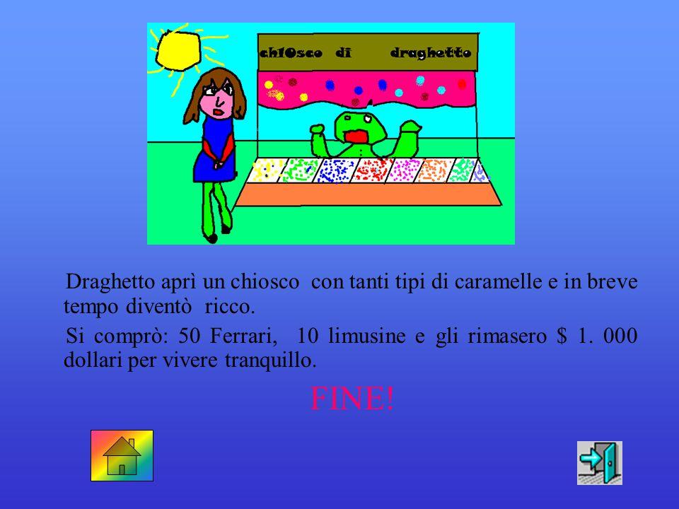 """Draghetto si sentì felice ed emozionato. Al piccolo drago venne un'idea: aprì un banchetto da fiorista con scritto """" Fiori a volontà"""". FINE!"""