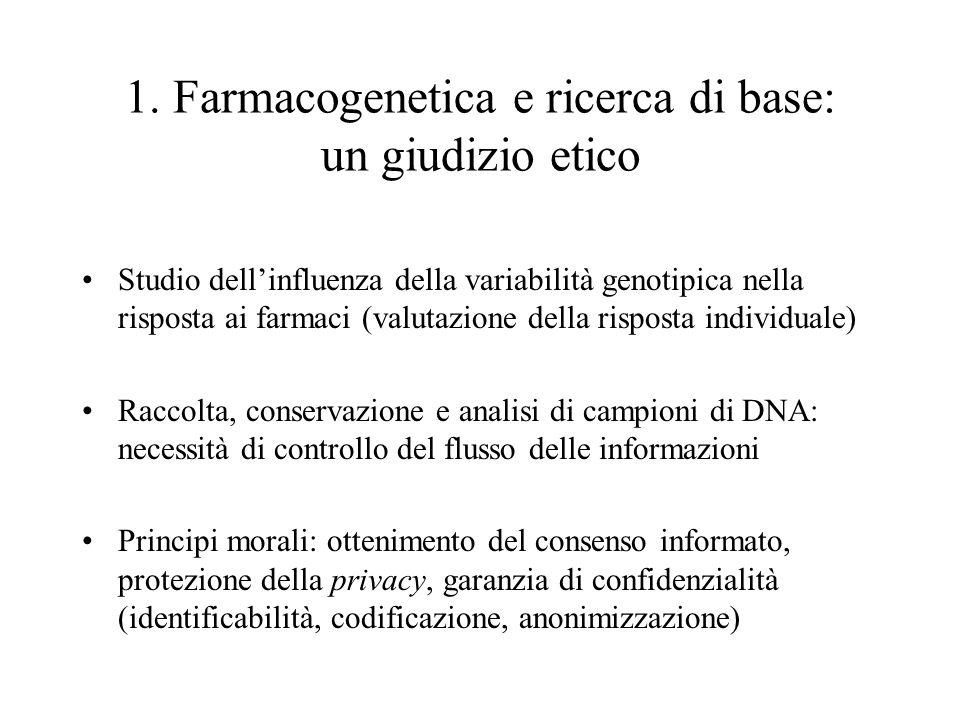 1. Farmacogenetica e ricerca di base: un giudizio etico Studio dell'influenza della variabilità genotipica nella risposta ai farmaci (valutazione dell
