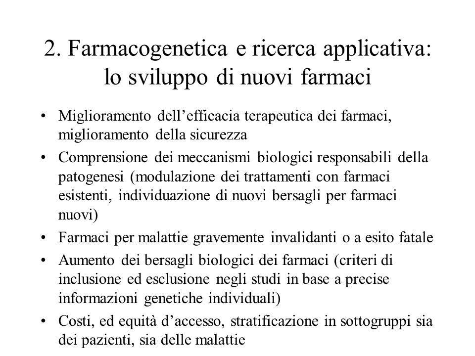 2. Farmacogenetica e ricerca applicativa: lo sviluppo di nuovi farmaci Miglioramento dell'efficacia terapeutica dei farmaci, miglioramento della sicur