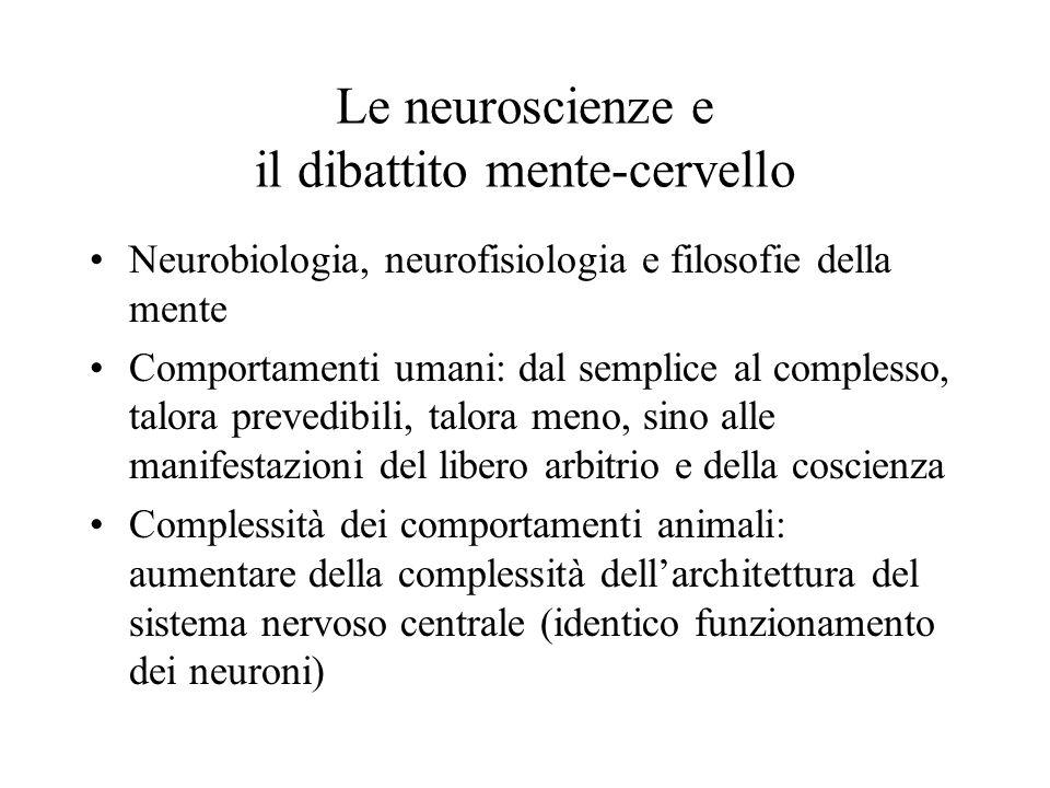 Le neuroscienze e il dibattito mente-cervello Neurobiologia, neurofisiologia e filosofie della mente Comportamenti umani: dal semplice al complesso, t