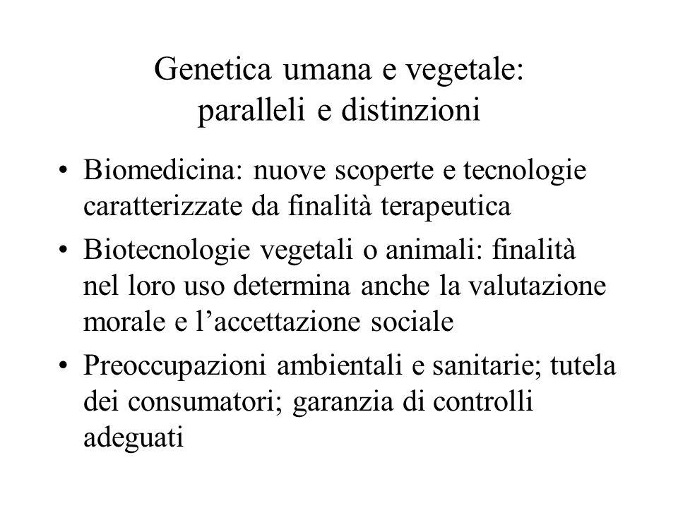Genetica umana e vegetale: paralleli e distinzioni Biomedicina: nuove scoperte e tecnologie caratterizzate da finalità terapeutica Biotecnologie veget