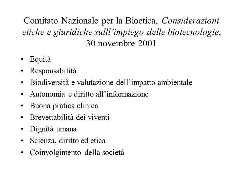 Comitato Nazionale per la Bioetica, Considerazioni etiche e giuridiche sulll'impiego delle biotecnologie, 30 novembre 2001 Equità Responsabilità Biodi