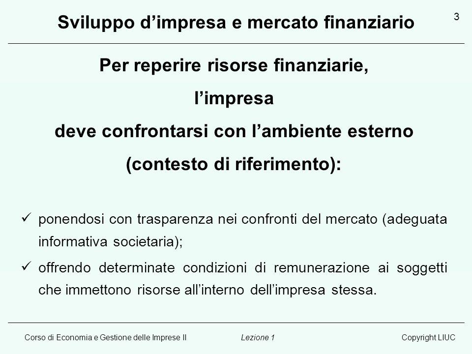 Corso di Economia e Gestione delle Imprese IICopyright LIUCLezione 1 4 Sviluppo d'impresa e mercato finanziario (continua) SVILUPPO D'IMPRESA RISORSE FINANZIARIE (vincoli alla reperibilità) ESTERNEINTERNE sistema settoreprofittabilità sistema paesetrasparenza sistema globaleknow how GLOBALIZZAZIONE DEL MERCATO FINANZIARIO