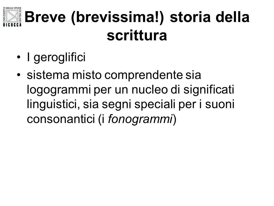 Breve (brevissima!) storia della scrittura I geroglifici sistema misto comprendente sia logogrammi per un nucleo di significati linguistici, sia segni