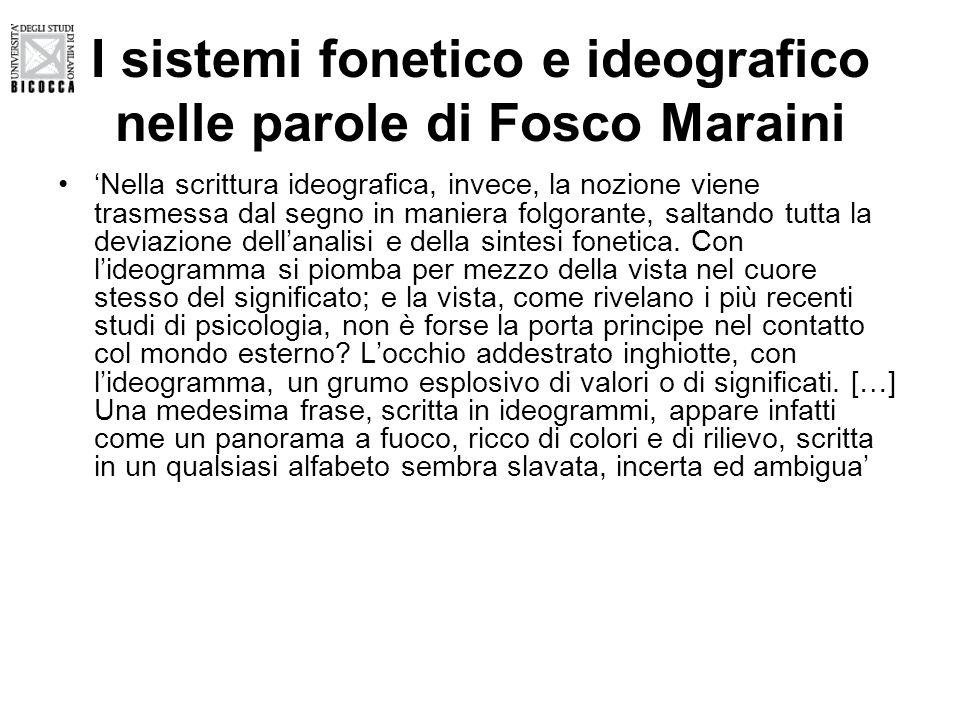 I sistemi fonetico e ideografico nelle parole di Fosco Maraini 'Nella scrittura ideografica, invece, la nozione viene trasmessa dal segno in maniera f