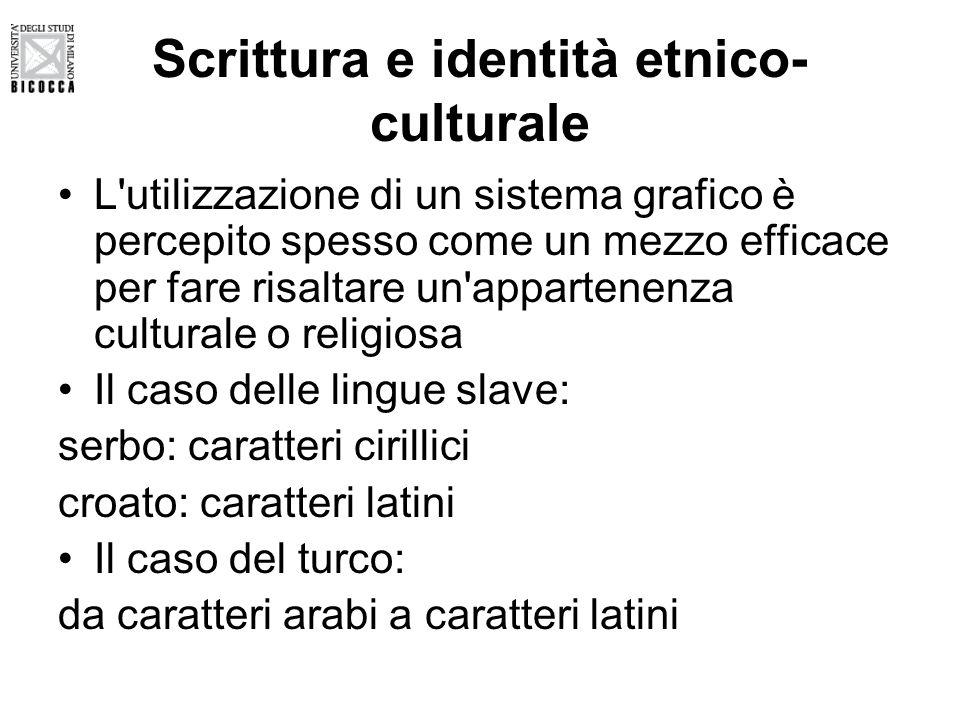 Scrittura e identità etnico- culturale L'utilizzazione di un sistema grafico è percepito spesso come un mezzo efficace per fare risaltare un'appartene