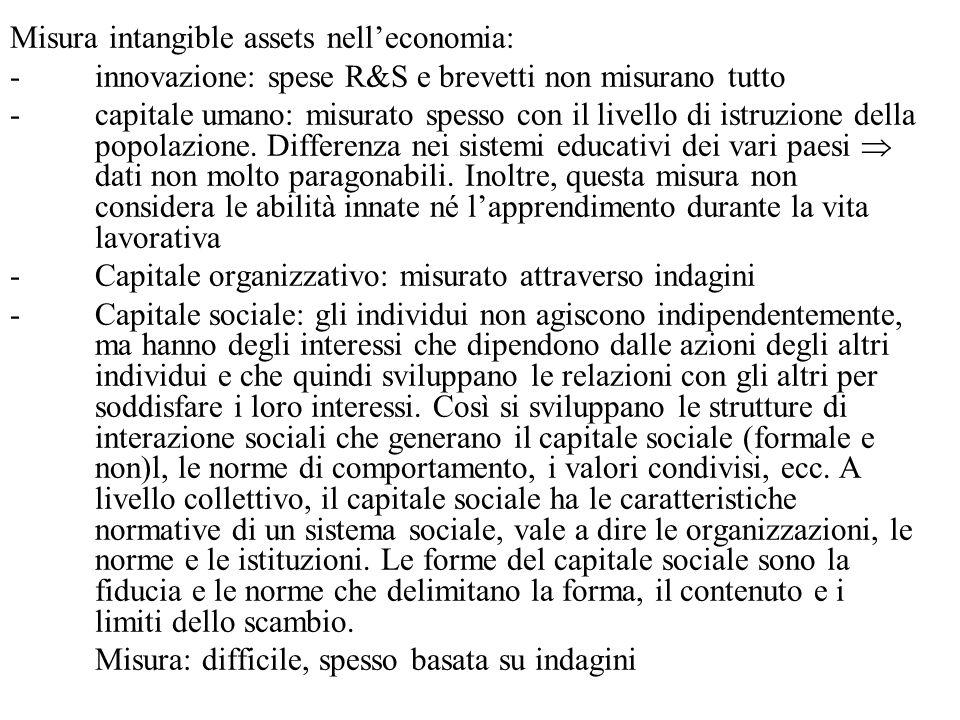 Misura intangible assets nell'economia: -innovazione: spese R&S e brevetti non misurano tutto -capitale umano: misurato spesso con il livello di istruzione della popolazione.
