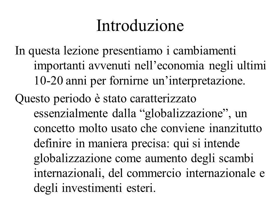 Introduzione In questa lezione presentiamo i cambiamenti importanti avvenuti nell'economia negli ultimi 10-20 anni per fornirne un'interpretazione.