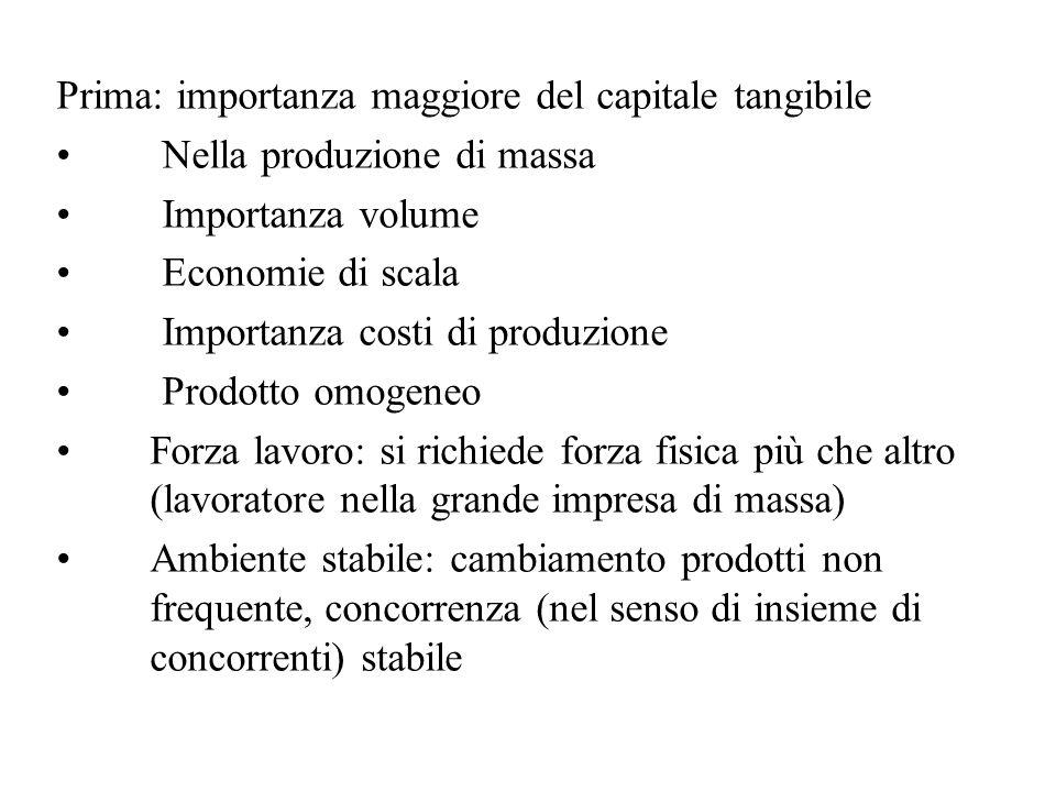 Prima: importanza maggiore del capitale tangibile Nella produzione di massa Importanza volume Economie di scala Importanza costi di produzione Prodotto omogeneo Forza lavoro: si richiede forza fisica più che altro (lavoratore nella grande impresa di massa) Ambiente stabile: cambiamento prodotti non frequente, concorrenza (nel senso di insieme di concorrenti) stabile