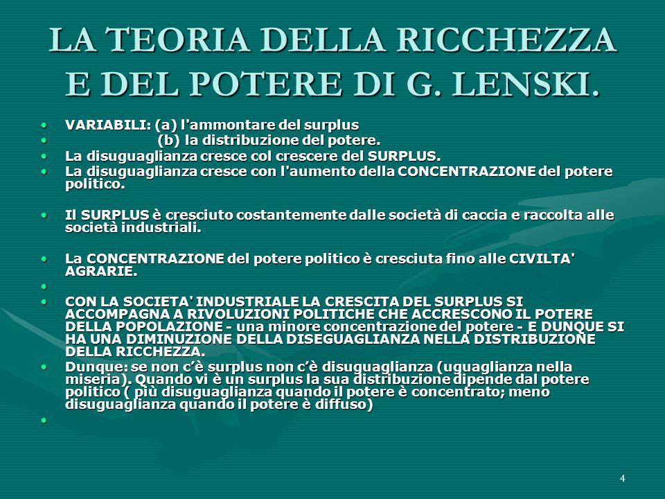 4 LA TEORIA DELLA RICCHEZZA E DEL POTERE DI G.LENSKI.