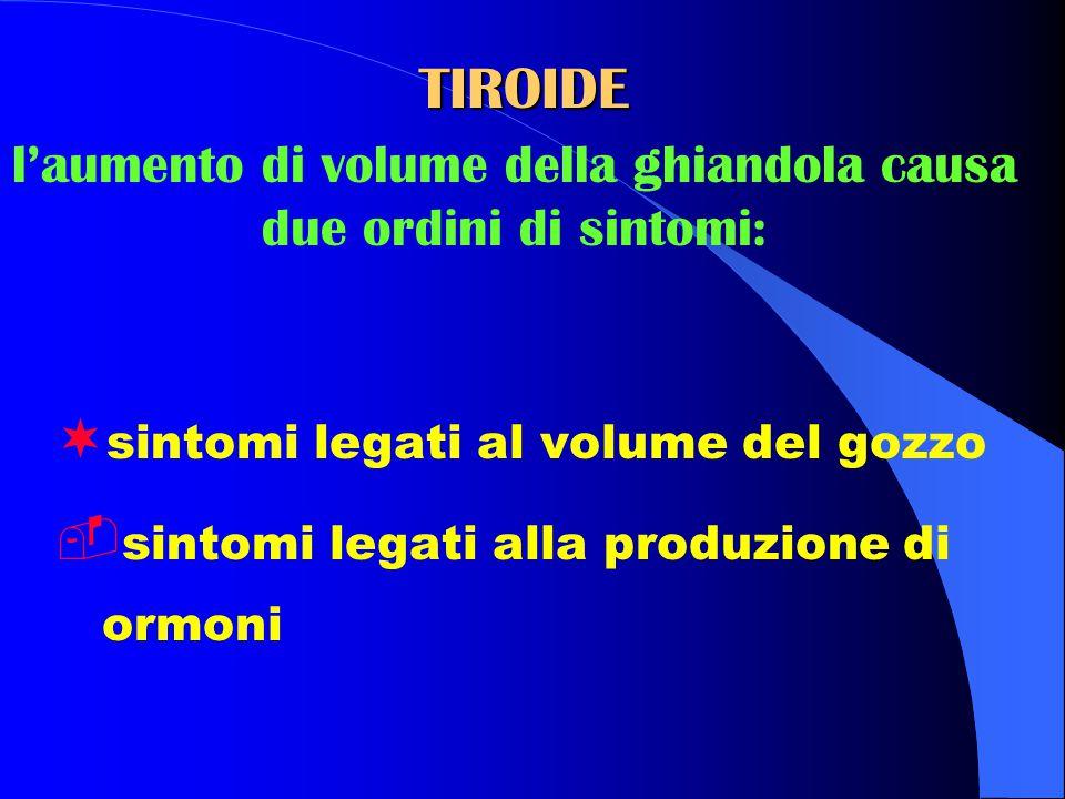 ¬ sintomi legati al volume del gozzo  sintomi legati alla produzione di ormoni TIROIDE l'aumento di volume della ghiandola causa due ordini di sintomi: