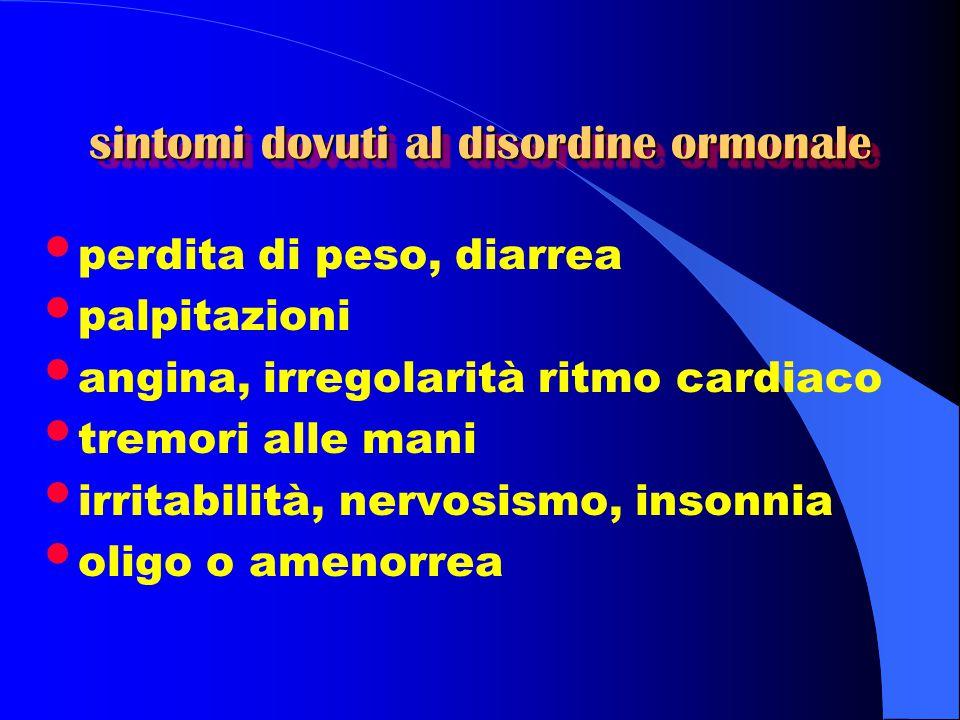 sintomi dovuti al disordine ormonale perdita di peso, diarrea palpitazioni angina, irregolarità ritmo cardiaco tremori alle mani irritabilità, nervosi