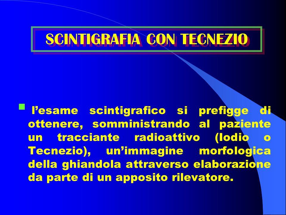  l'esame scintigrafico si prefigge di ottenere, somministrando al paziente un tracciante radioattivo (Iodio o Tecnezio), un'immagine morfologica dell