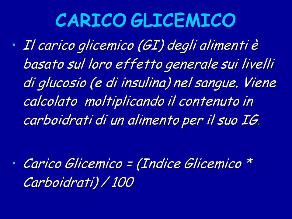CARICO GLICEMICO Il carico glicemico (GI) degli alimenti è basato sul loro effetto generale sui livelli di glucosio (e di insulina) nel sangue.