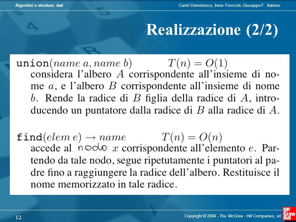 Camil Demetrescu, Irene Finocchi, Giuseppe F. ItalianoAlgoritmi e strutture dati Copyright © 2004 - The McGraw - Hill Companies, srl 12 Realizzazione