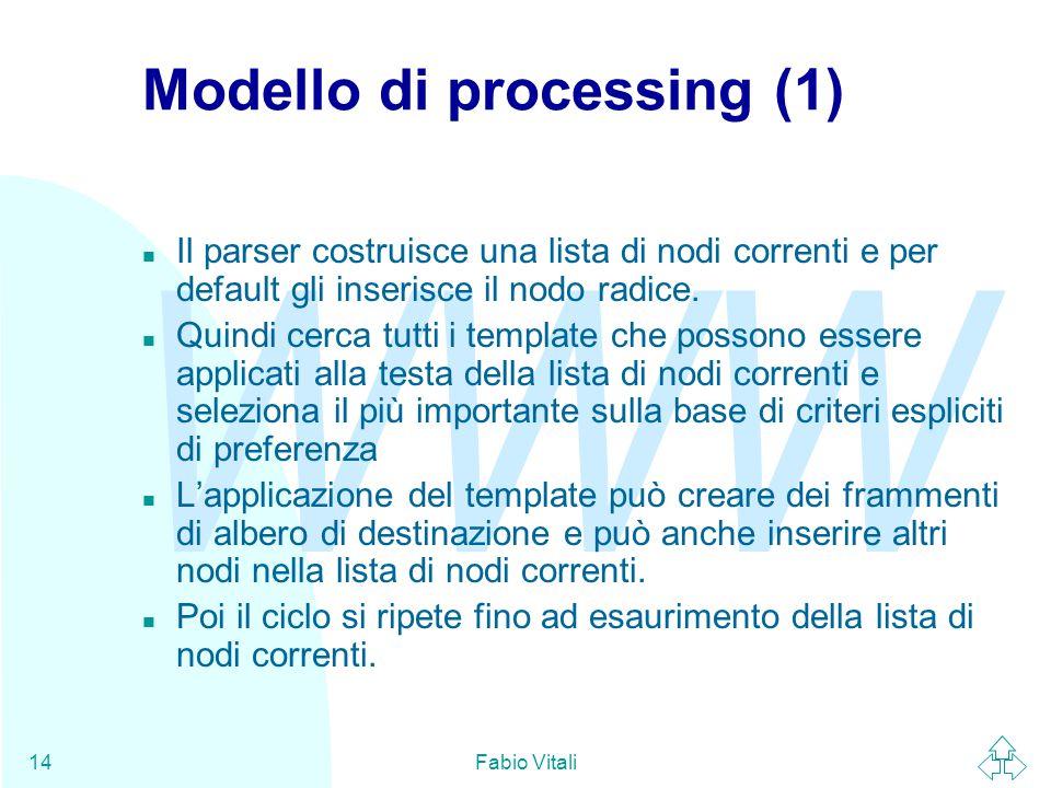 WWW Fabio Vitali14 Modello di processing (1) n Il parser costruisce una lista di nodi correnti e per default gli inserisce il nodo radice.