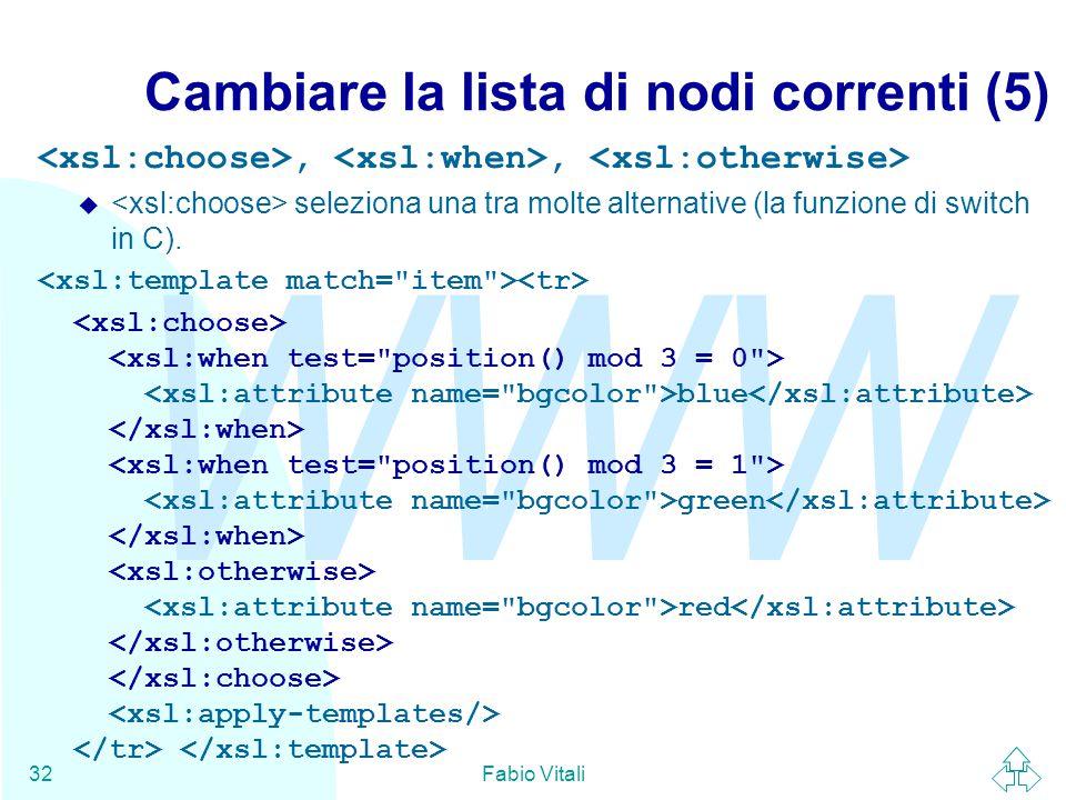 WWW Fabio Vitali32 Cambiare la lista di nodi correnti (5),, u seleziona una tra molte alternative (la funzione di switch in C).