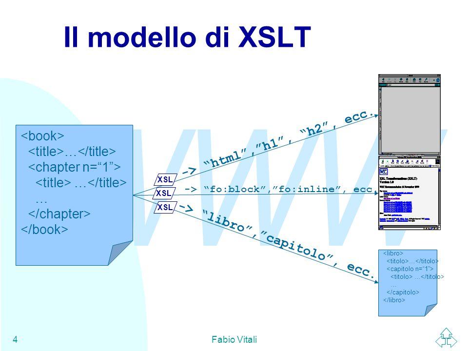 WWW Fabio Vitali4 Il modello di XSLT … … … … -> html , h1 , h2 , ecc.